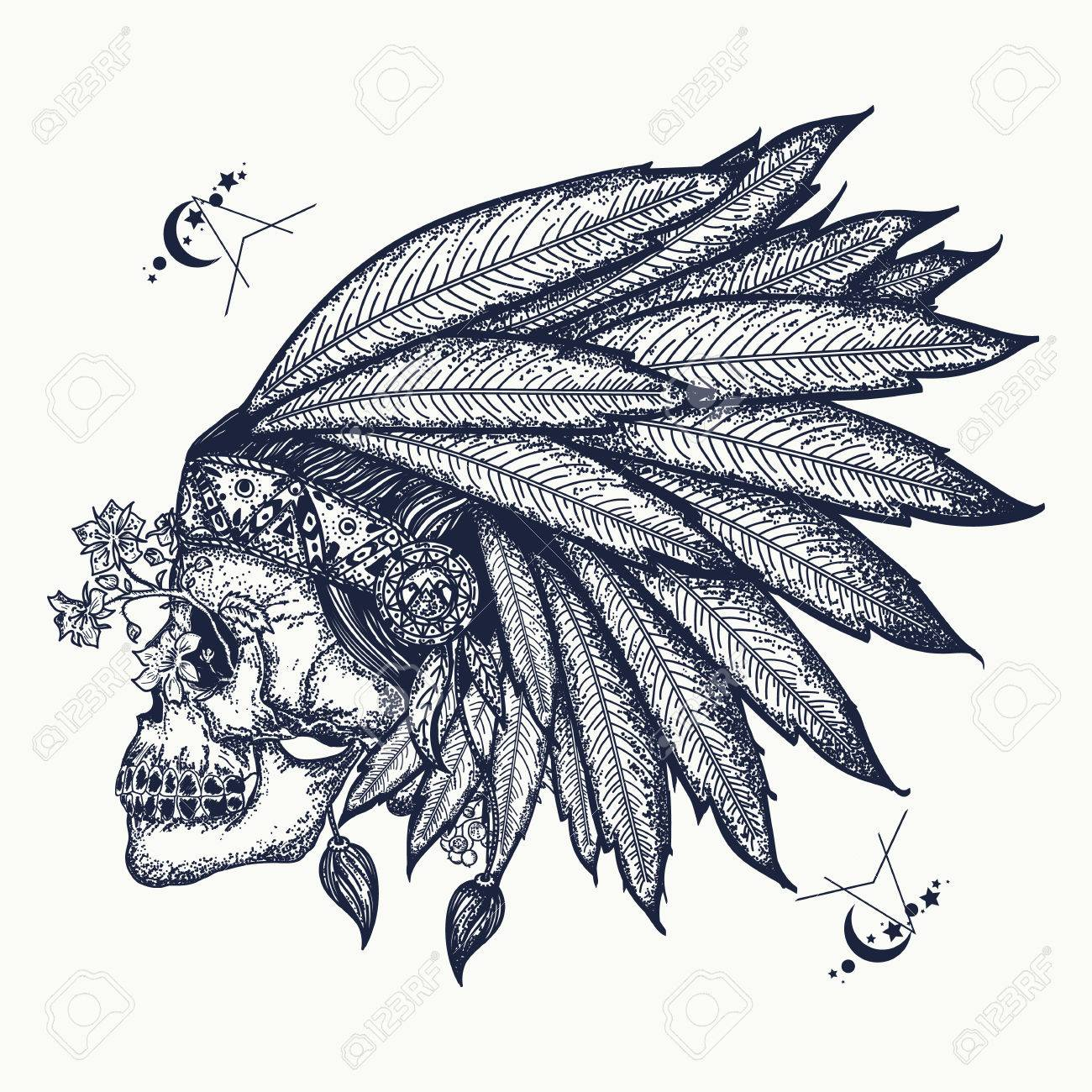 97779d812a73e Indian skull tattoo art. Warrior symbol. Native American indian feather  headdress with human skull