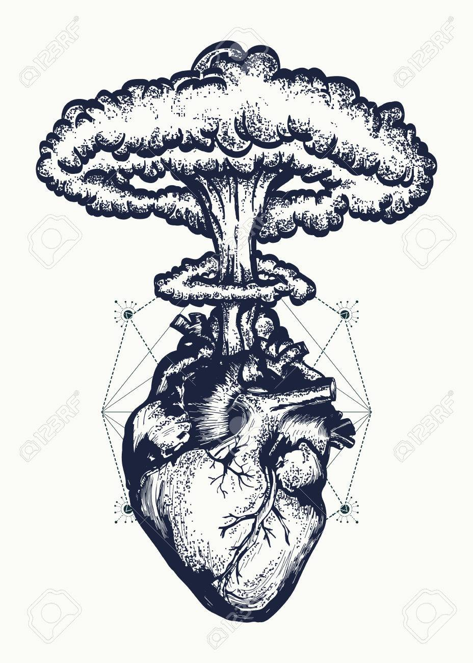 Heart and nuclear explosion tattoo art. Symbol of love, feelings, energy. Nuclear explosion of anatomical heart t-shirt design surreal graphic - 71509911