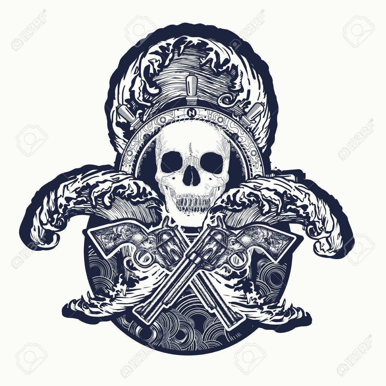 f8b2ce78491 Pirate, crossed guns, skull, sea waves tattoo art. Symbol sea..