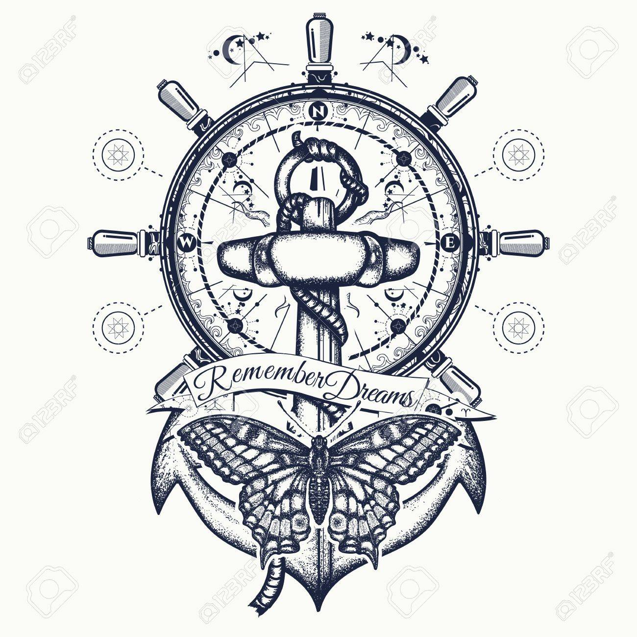Anchor Steering Wheel Butterfly Tattoo Art Symbol Of Freedom