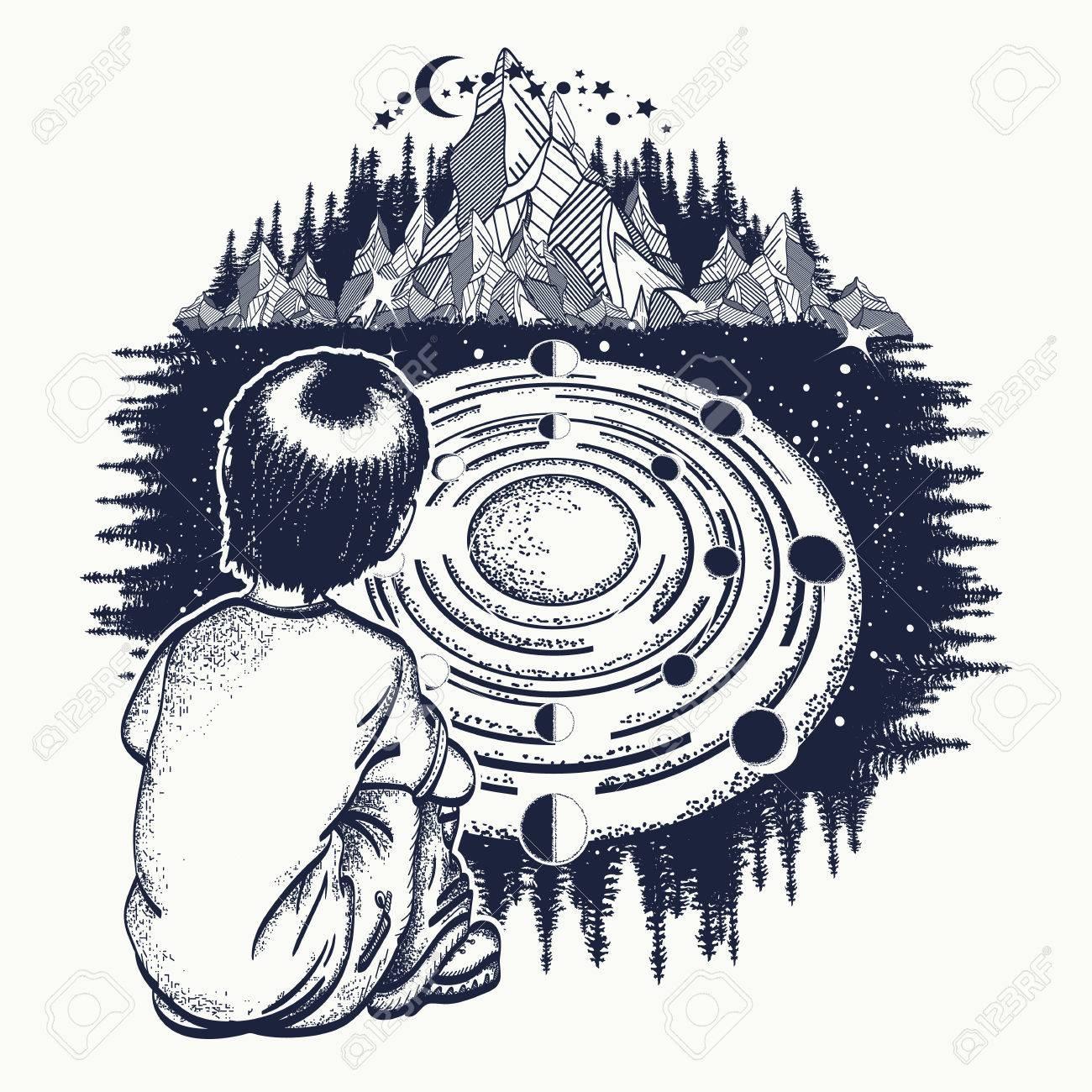 Dreamer tattoo art ingenious boy studies solar system symbol ingenious boy studies solar system symbol of the universe galaxy buycottarizona
