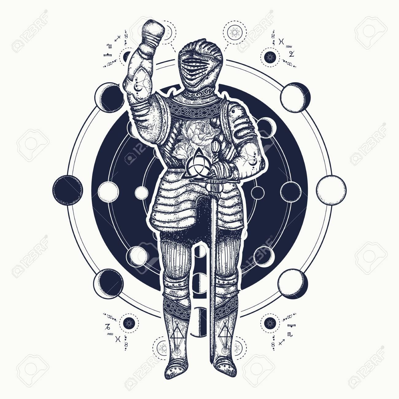 c12135a4b8a9b Medieval knight tattoo art. Esoteric symbol ancient war, lunar phases.  Alchemical motives,