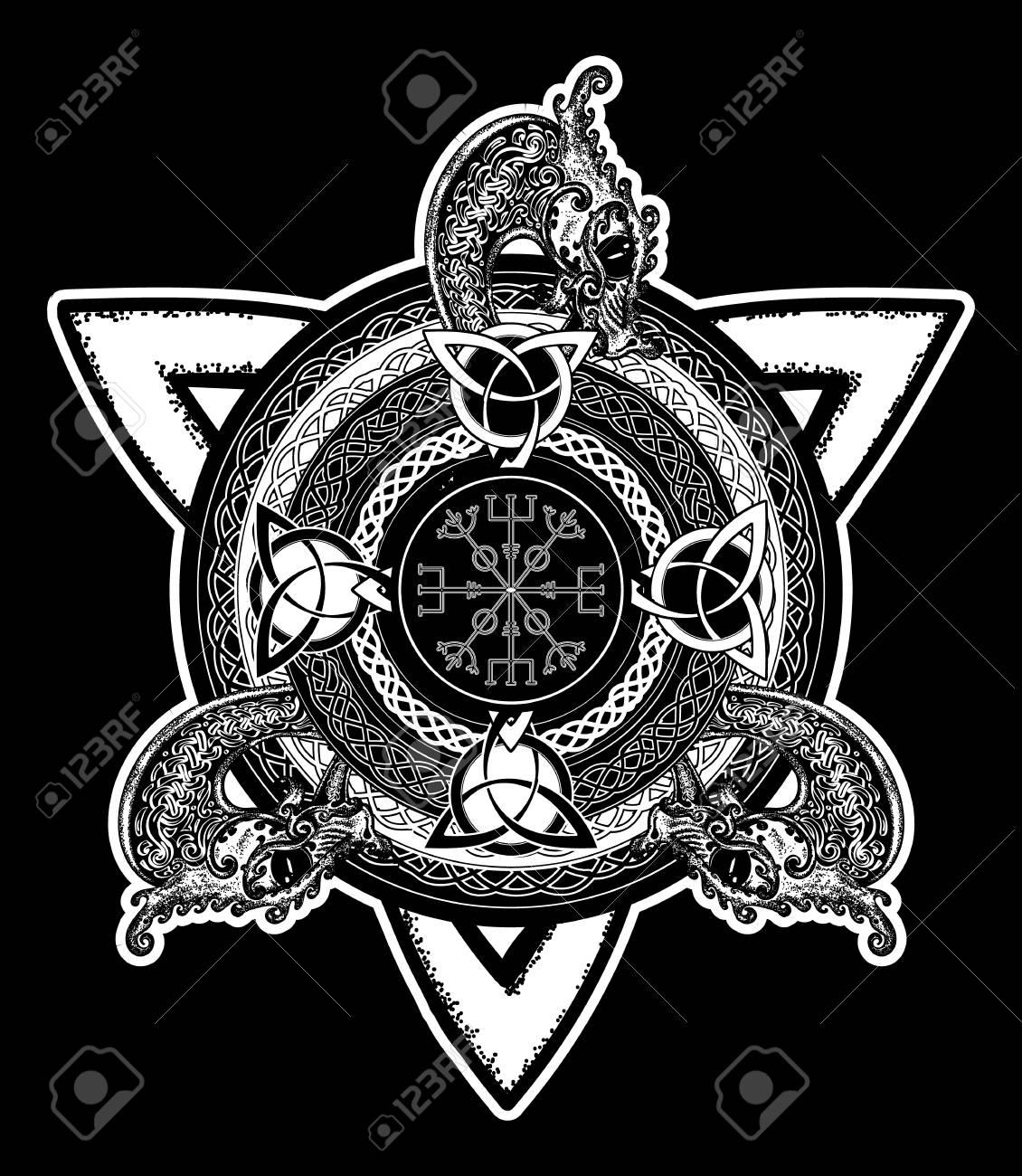 Celtic cross tattoo art and t shirt design dragons symbol of celtic cross tattoo art and t shirt design dragons symbol of the viking biocorpaavc Gallery