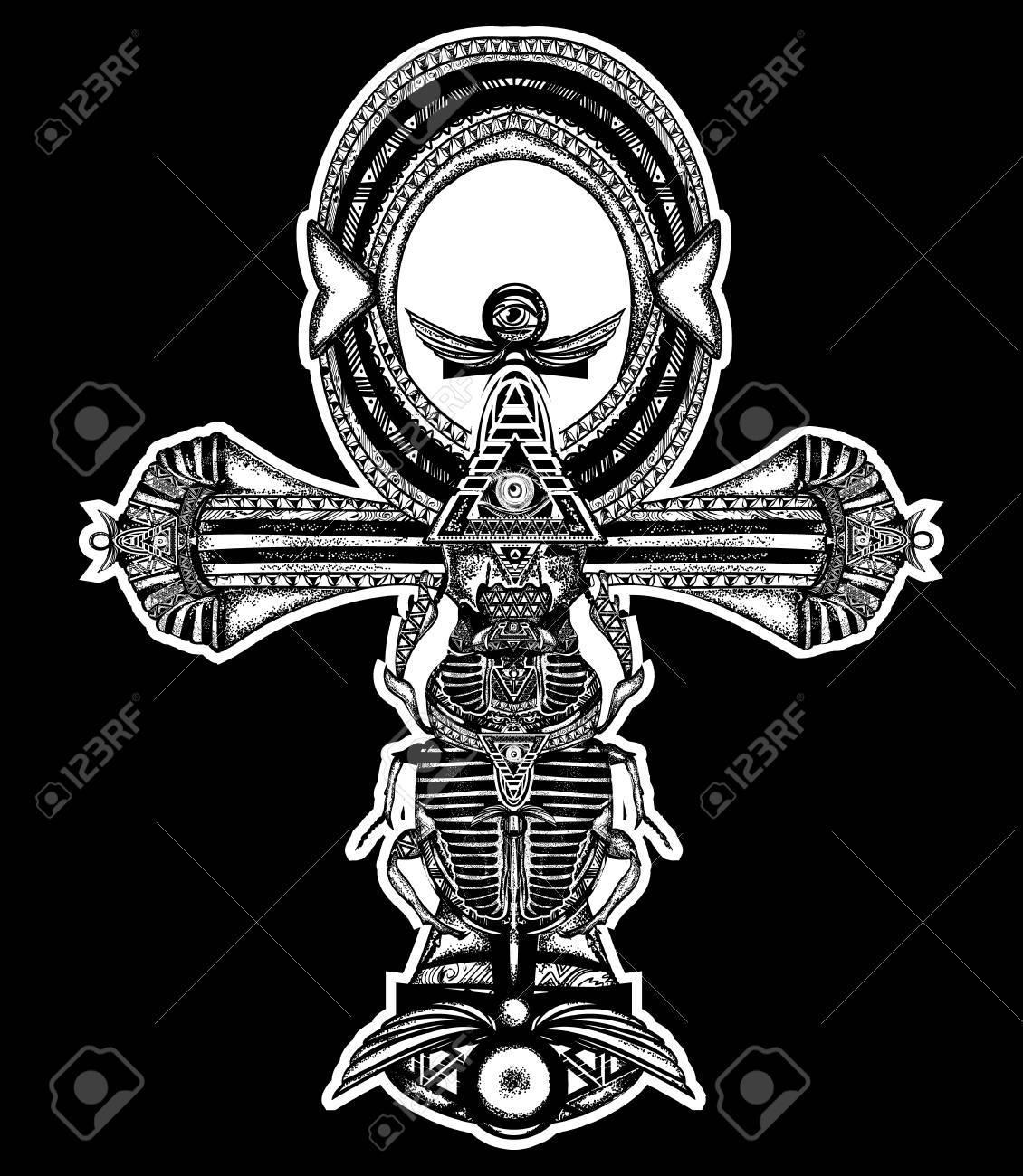 Tatuaje Ankh Cruz Egipcia Antigua Diseño De La Camiseta Estilo