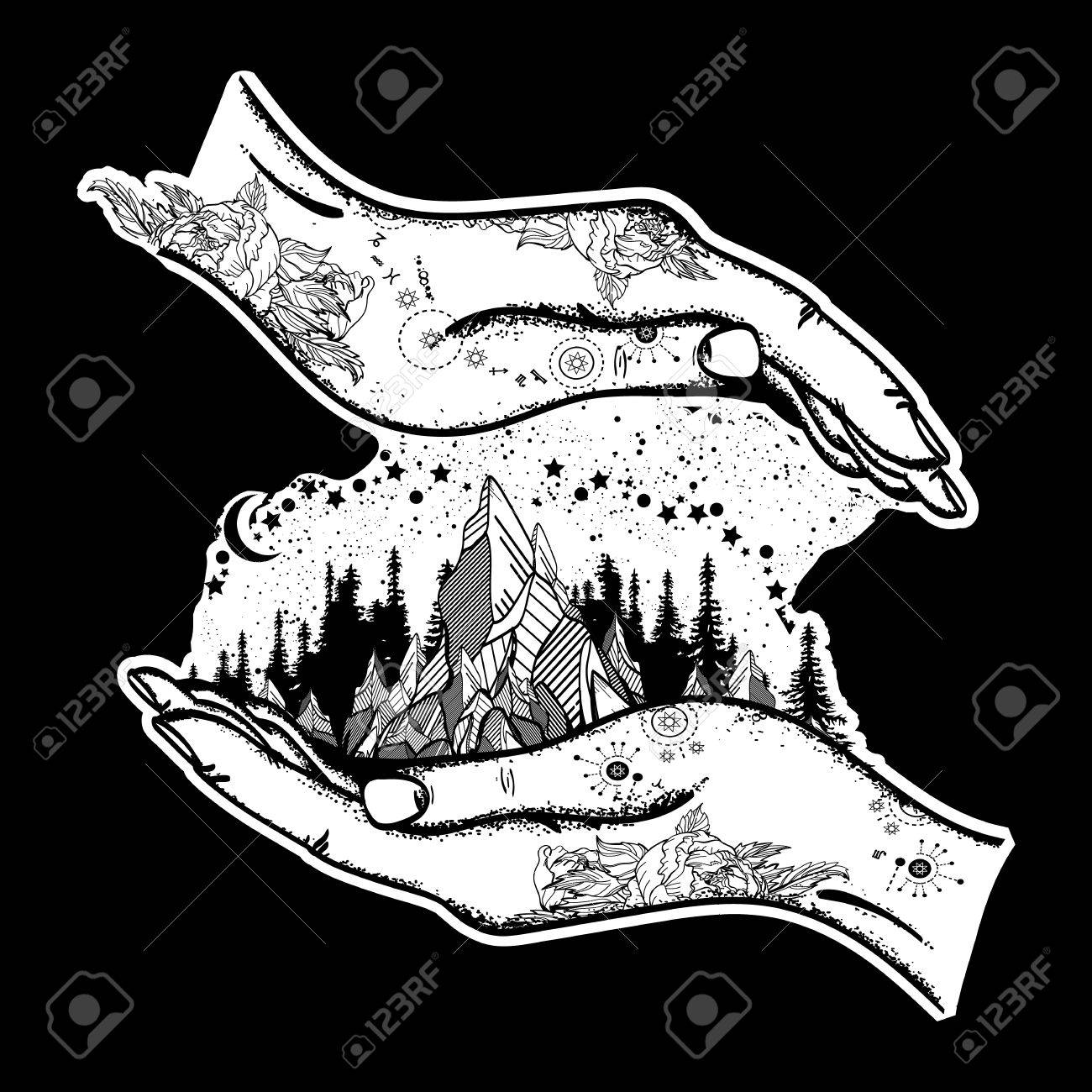 Mountains in hands tattoo symbol of travel tourism meditation symbol of travel tourism meditation mountains boho biocorpaavc Images