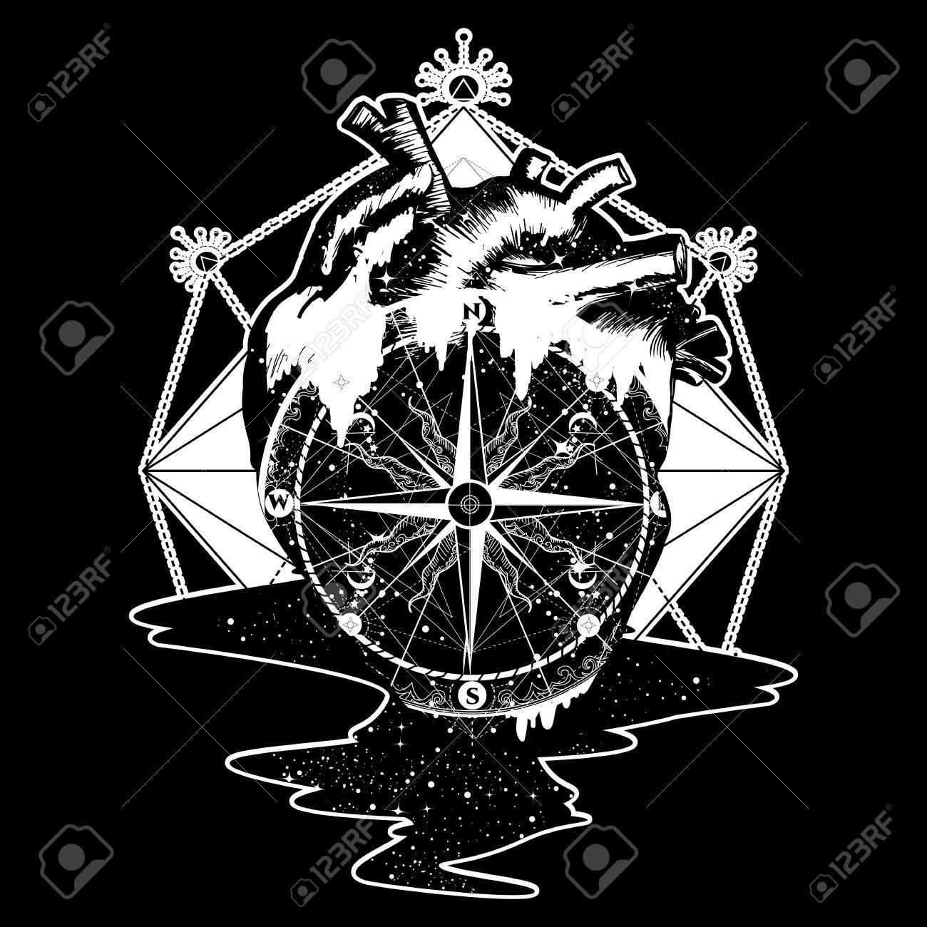 Coeur Steampunk compass au coeur steampunk tatouage, style géométrique. symbole