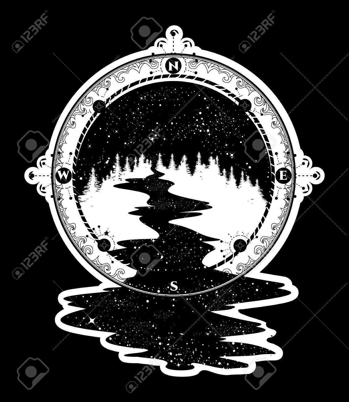 Star river flows from the compass tattoo art travel symbol star river flows from the compass tattoo art travel symbol tourism antique compass biocorpaavc Images