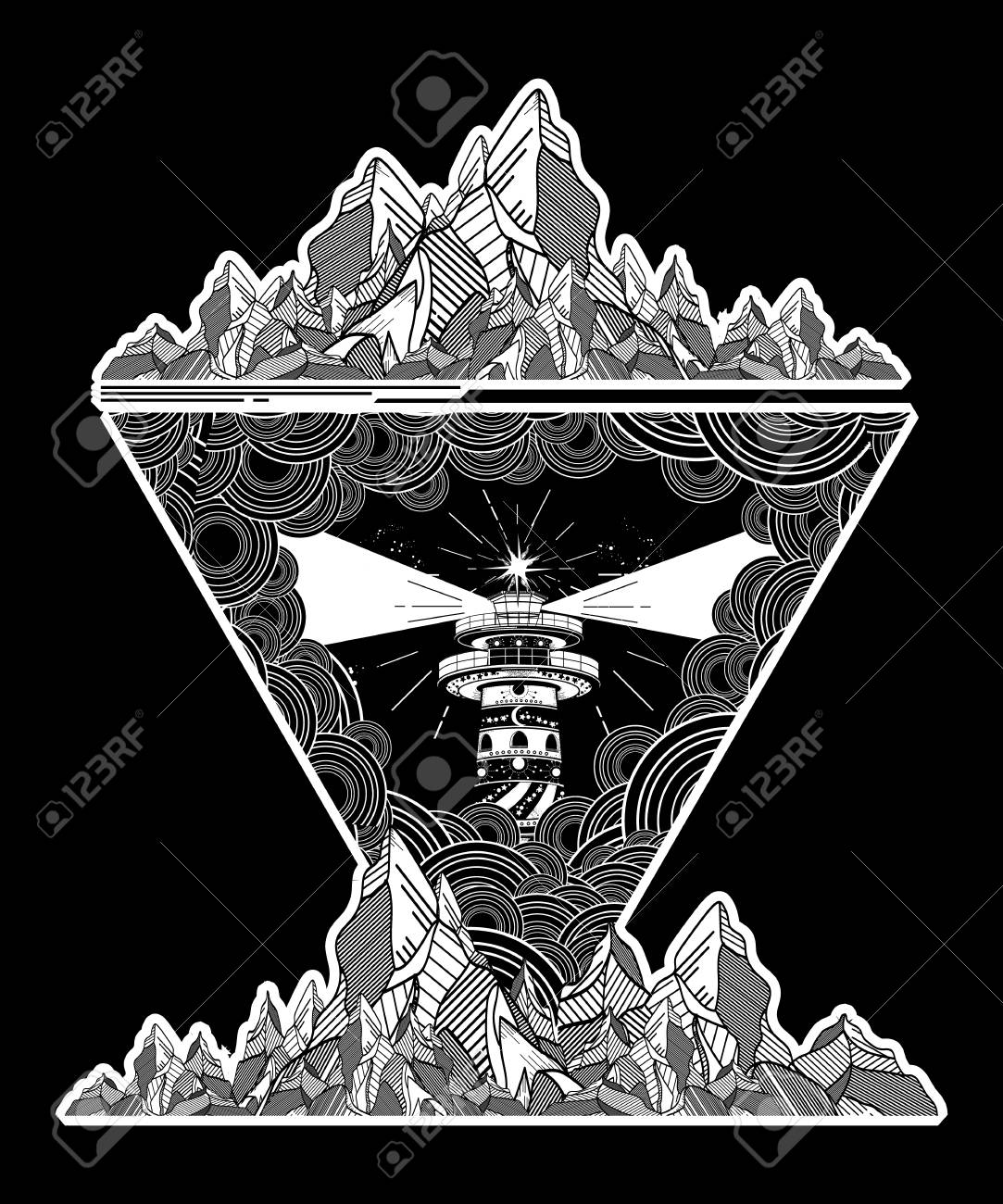 Lighthouse In The Storm Tattoo Art Lighthouse Mountains Geometric