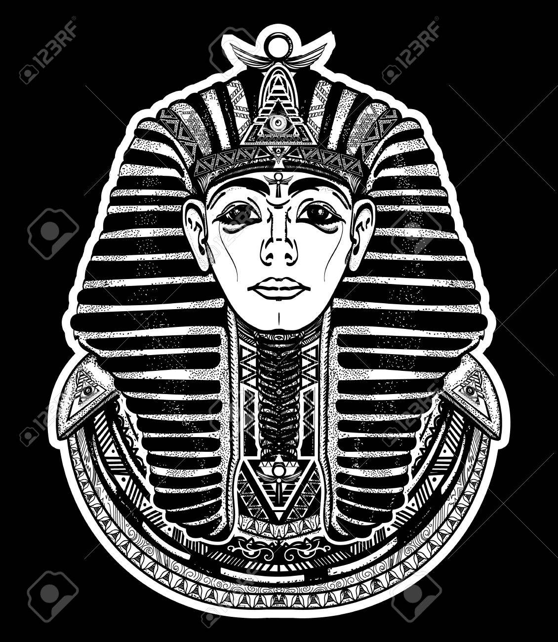Pharao Tattoo-Kunst, Ägypten Pharao Grafik, T-Shirt-Design. Großer ...
