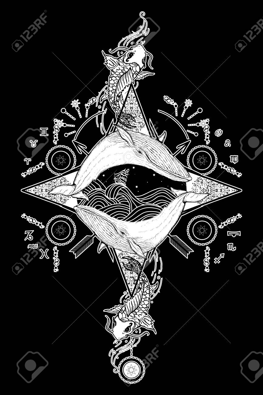 Two Whales In Sea Wind Rose Compass Mystical Tattoo Vector Japanese