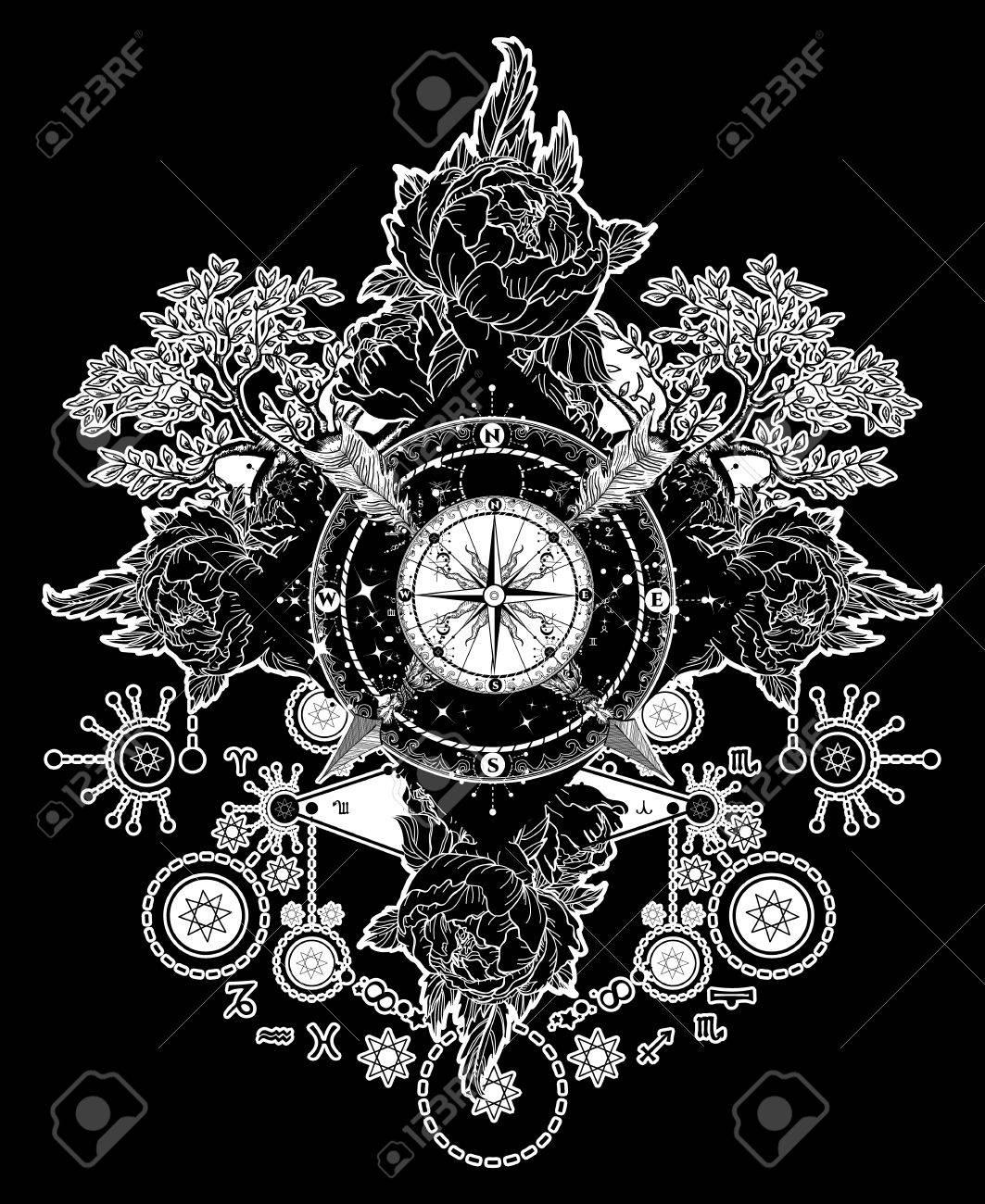 Art De Tatouage Boussole Fleches Croisees Roses Arbre A Feuilles