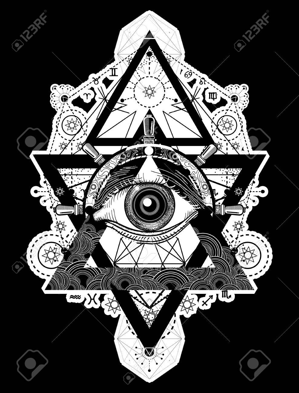 All seeing eye tattoo art vector. Freemason and spiritual symbols. Alchemy, medieval religion, occultism, spirituality and esoteric tattoo. Magic eye, compass and steering wheel t-shirt design - 73946144