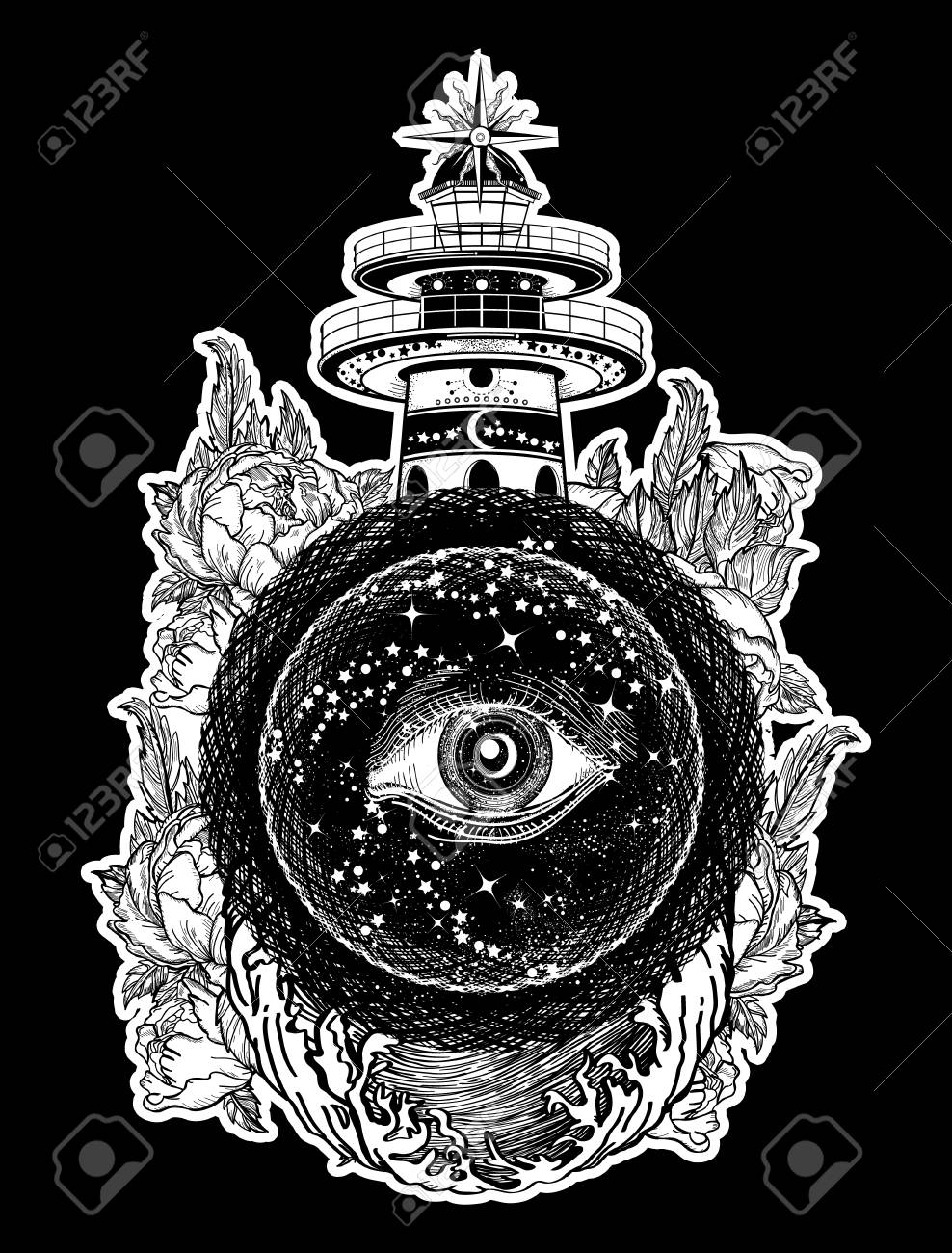 Lighthouse Roses And All Seeing Eye Tattoo Freemason Spiritual