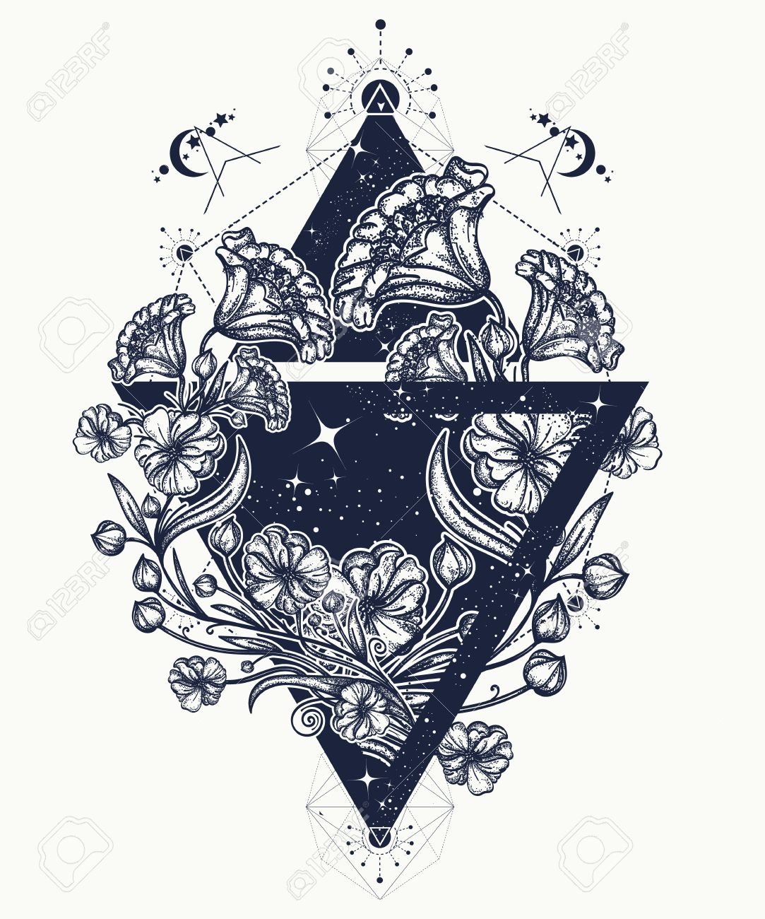 Flowers In A Triangle Tattoo Art Graceful Flowers In Mystical