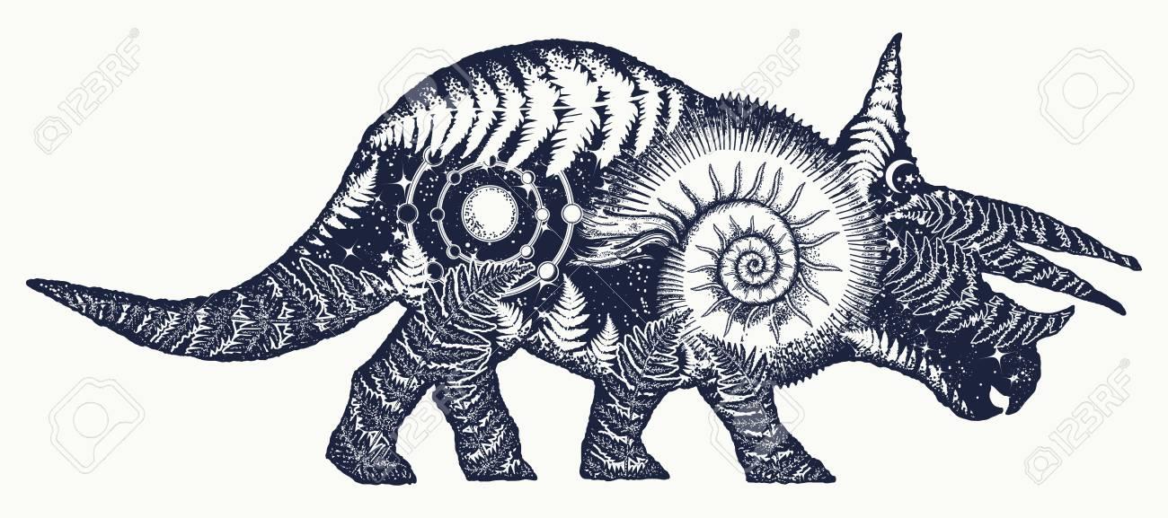 triceratops double exposure tattoo art triceratops dinosaur