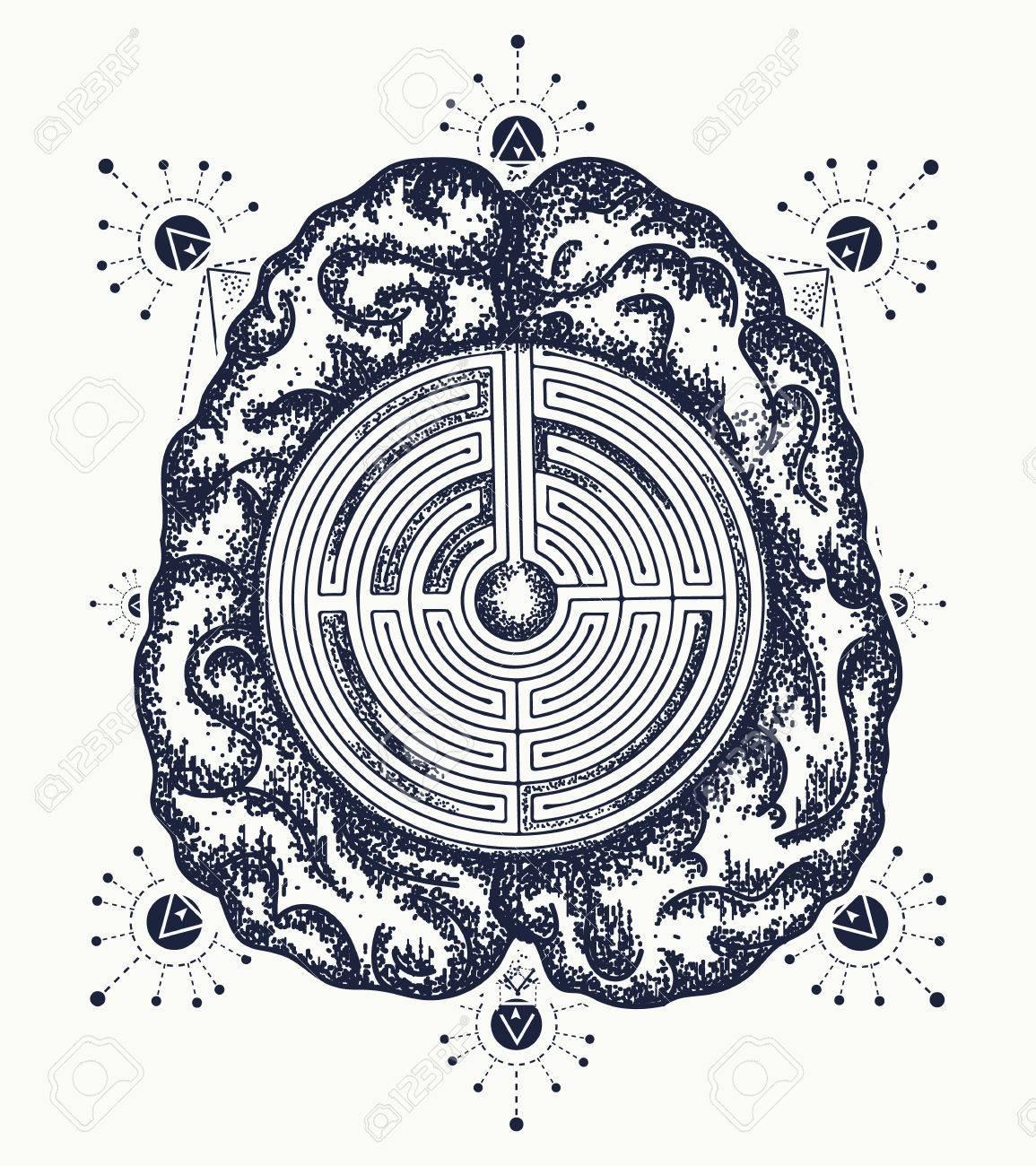 Brain and labyrinth tattoo art symbol of philosophy artificial brain and labyrinth tattoo art symbol of philosophy artificial intelligence psychology creative biocorpaavc