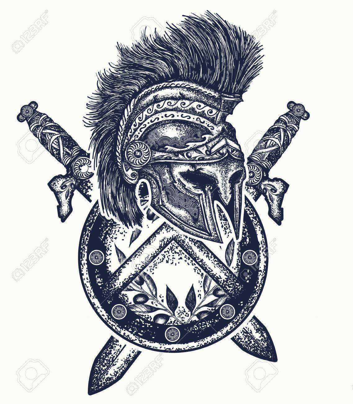 Spartan Helmet Crossed Swords And Spartan Shield Symbol Of Bravery