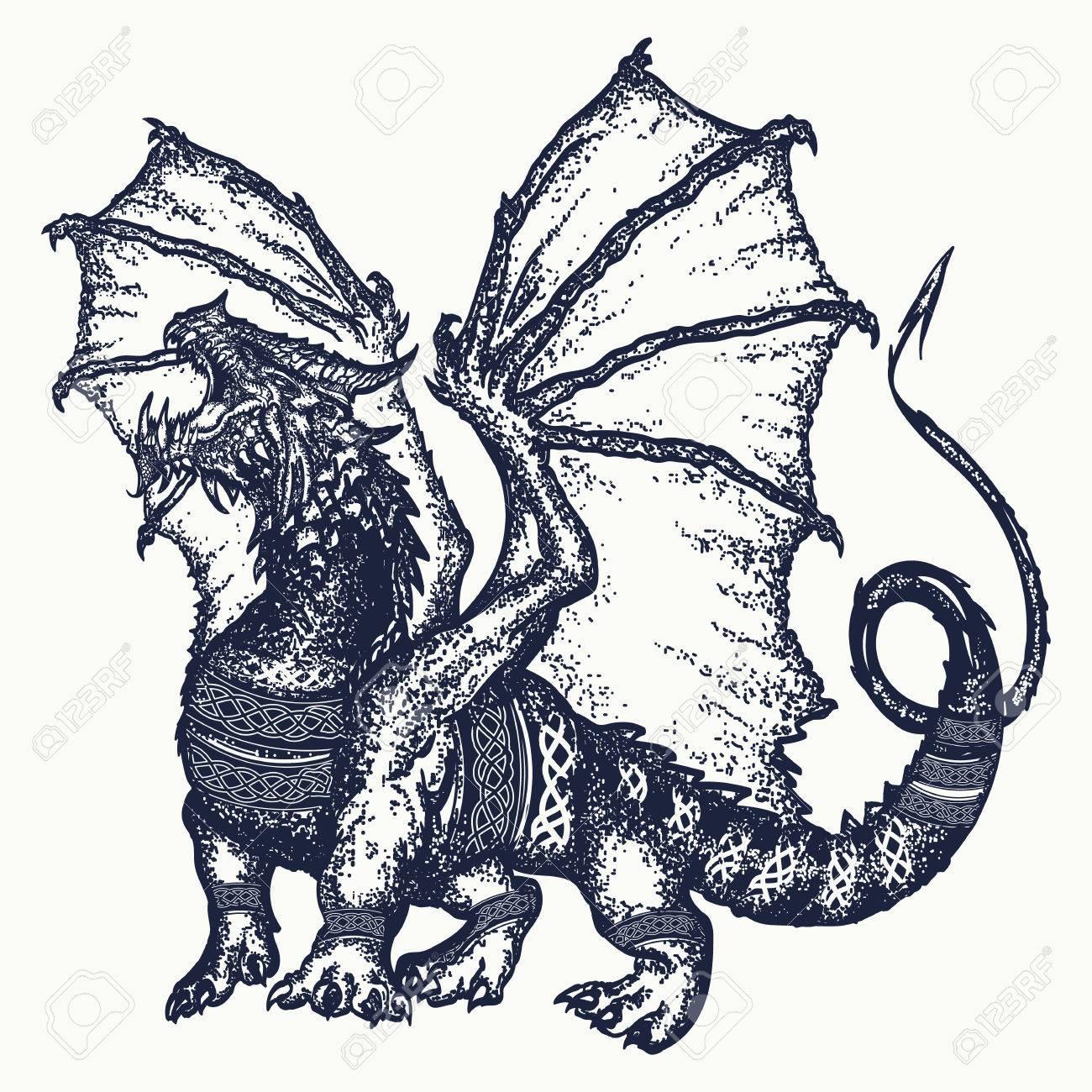 Dragon Tattoo Art Symbol Force Fantasy Fairy Tale Strong