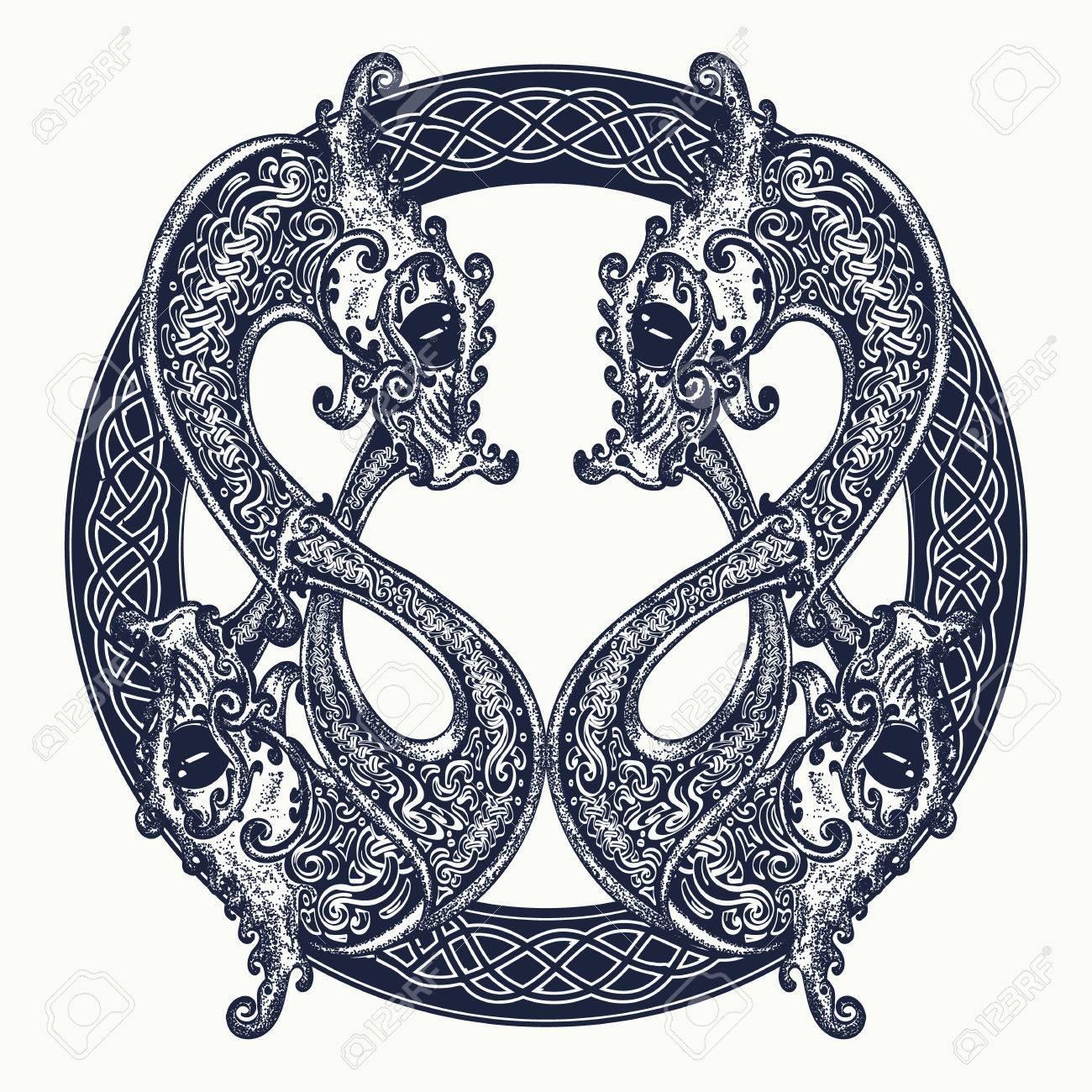 Two dragons in celtic style tattoo meditation philosophy two dragons in celtic style tattoo meditation philosophy harmony symbol black biocorpaavc Gallery