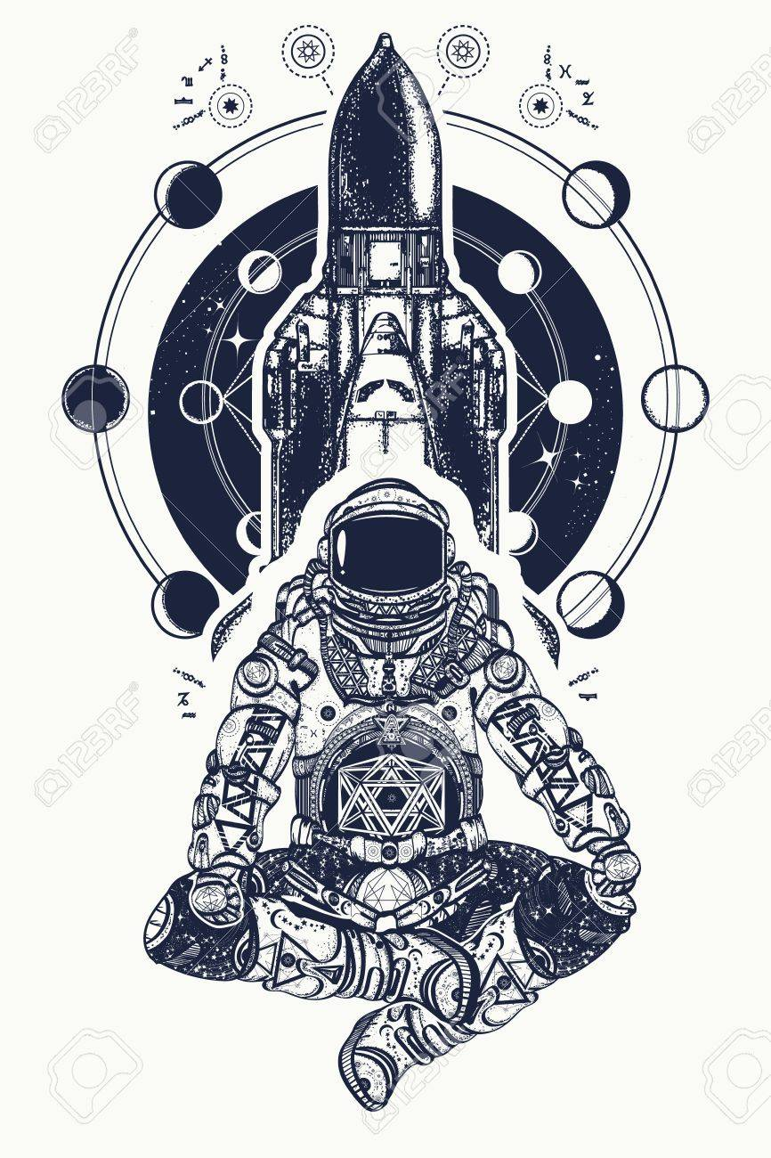 Space shuttle and astronaut in lotus position tattoo art. Symbol of meditation, education, science, harmony, yoga. Astronaut and Universe t-shirt design. Spaceman and shuttle - 78086090