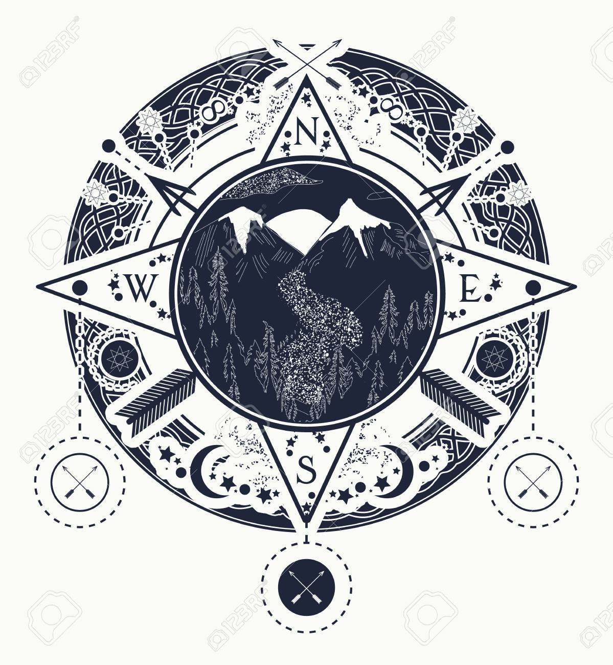 Mountain wind rose compass tattoo art. Tattoo for camping, tracking and hiking. Travel, adventure, outdoors, meditation symbol. Road in the mountains - 78086089
