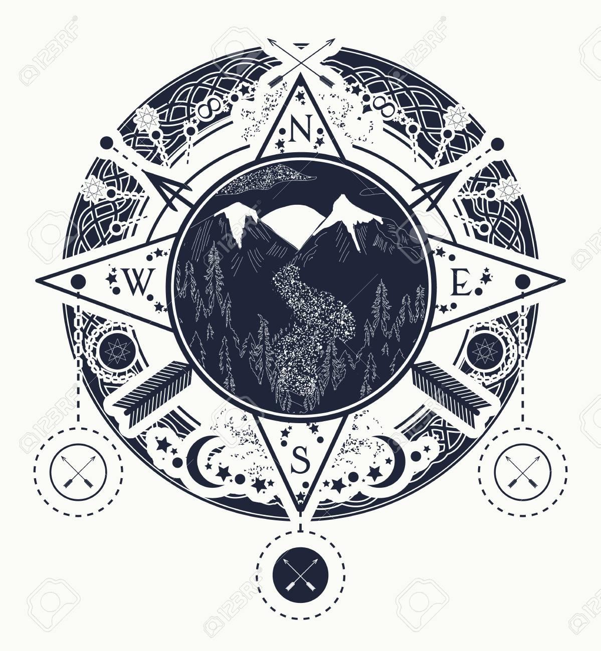 Arte Del Tatuaje Brújula Rosa De Los Vientos De La Montaña Tatuaje Para Acampar Seguir Y Caminar Viaje Aventura Aire Libre Símbolo De