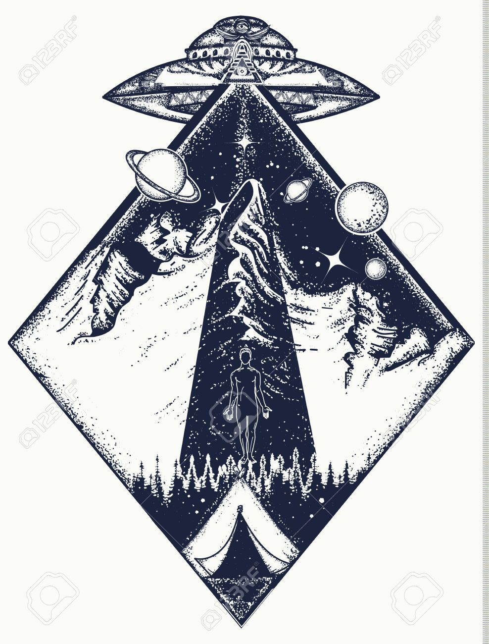 UFO tattoo art and t-shirt design. Invasion of aliens. Aliens kidnap human. Mystical symbol paranormal phenomena, first contact, UFO kidnapped tourist from tent in mountains tattoo - 78600935