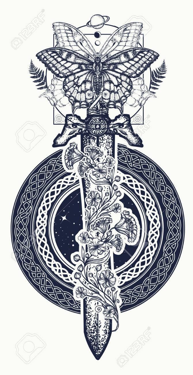 Schwert Und Schmetterling Tattoo Kunst Und T Shirt Design Gotisches