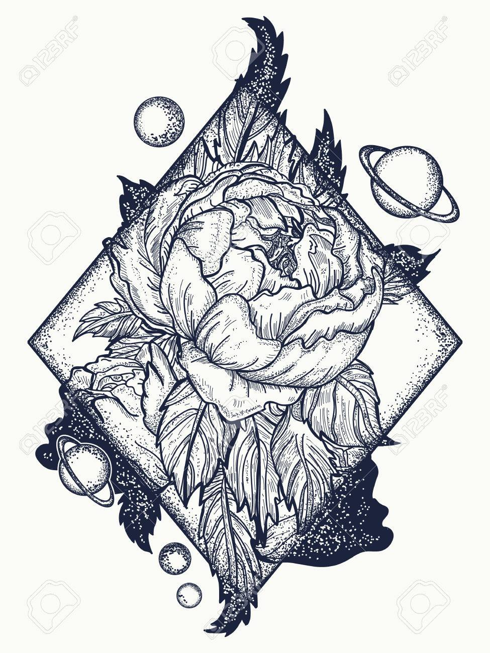 Esoteric Rose Tattoo Art And T Shirt Design Symbol Of Love
