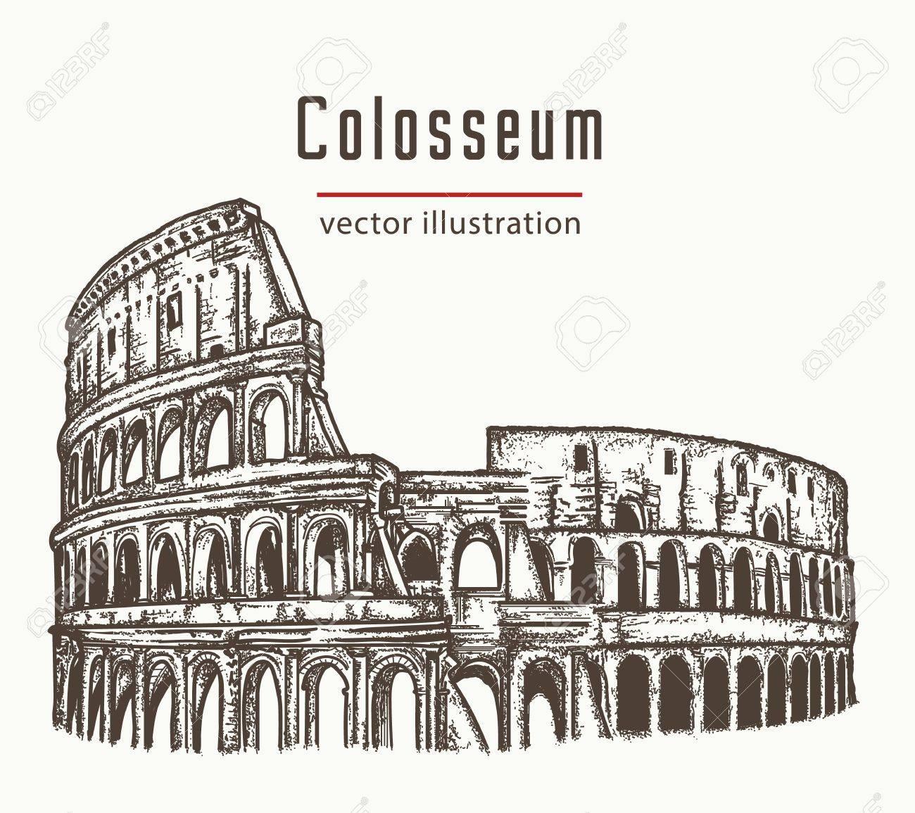 Coliseo En Roma Italia Vector Coliseo Dibujado A Mano Ilustración