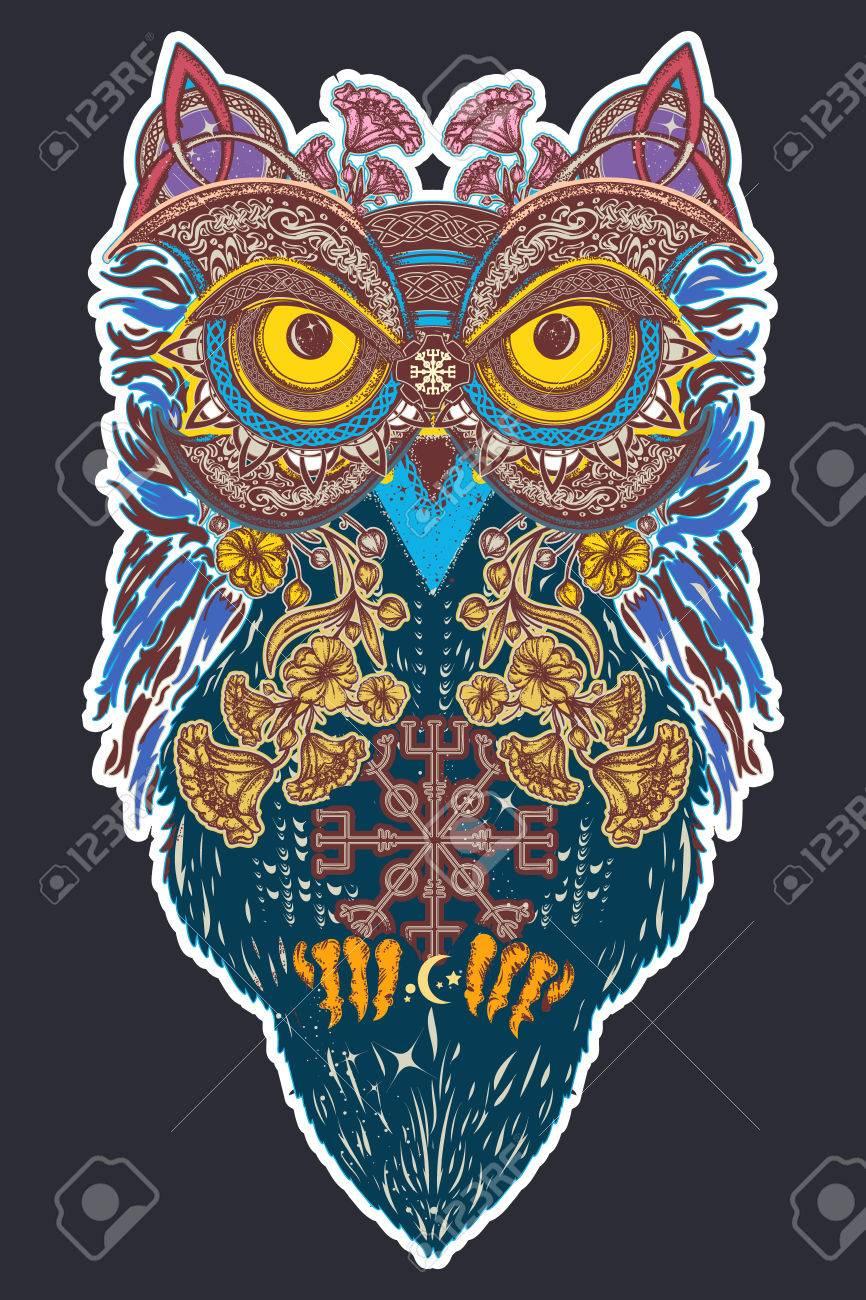 Owl color tattoo art owl in ethnic celtic style t shirt design owl in ethnic celtic style t shirt design owl buycottarizona
