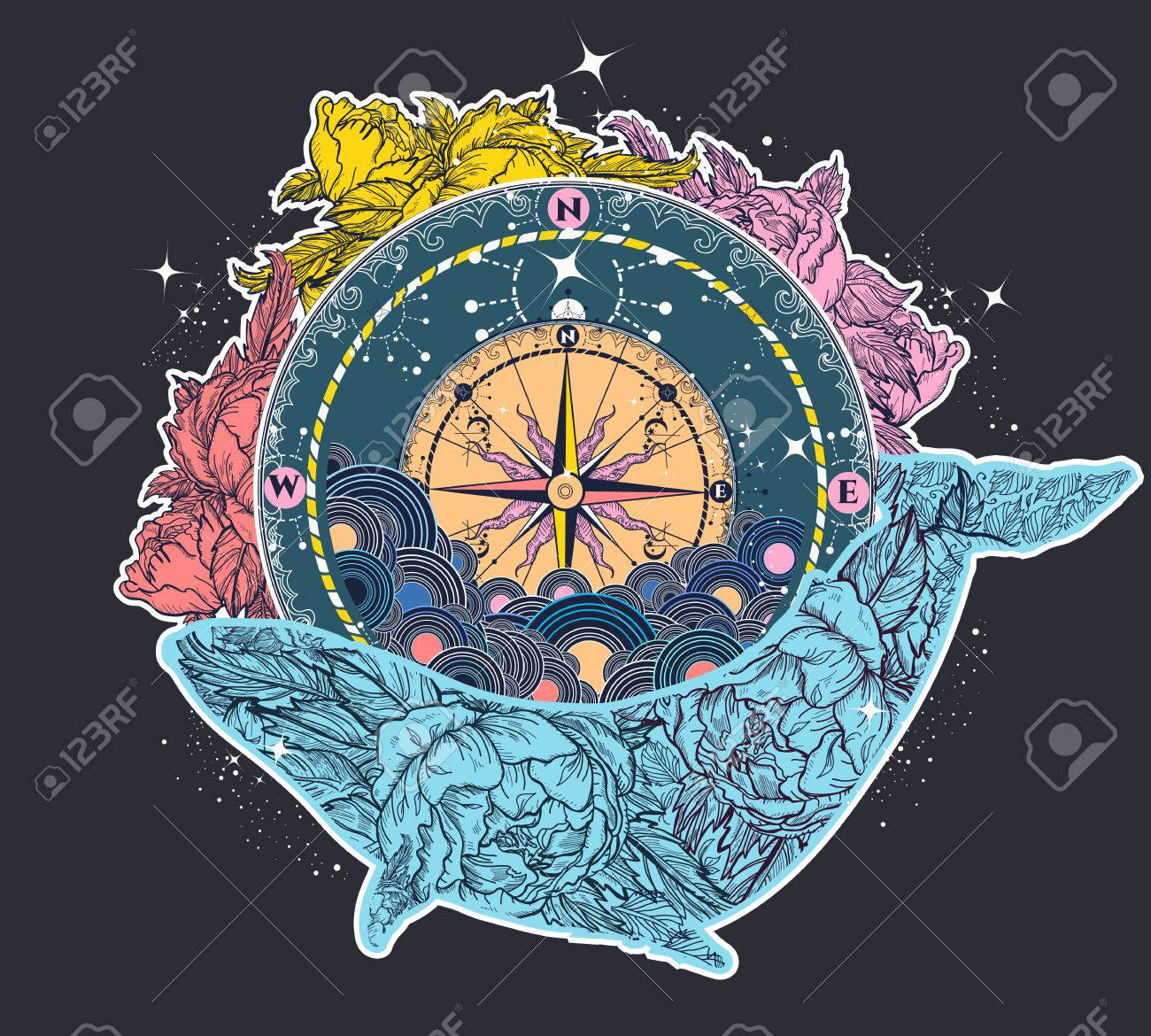 Antique compass and floral whale tattoo art. Mystical symbol of adventure, dreams. Compass and Whale t-shirt design and color tattoo. Travel, adventure, outdoors symbol whale, marine tattoo - 79178684