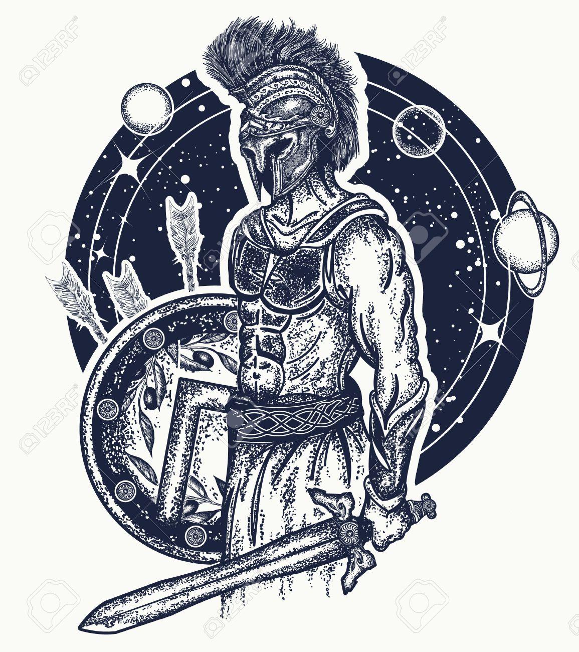 Guerrier Spartiate De Gladiateur Tenant L Art De La Tatouage De L