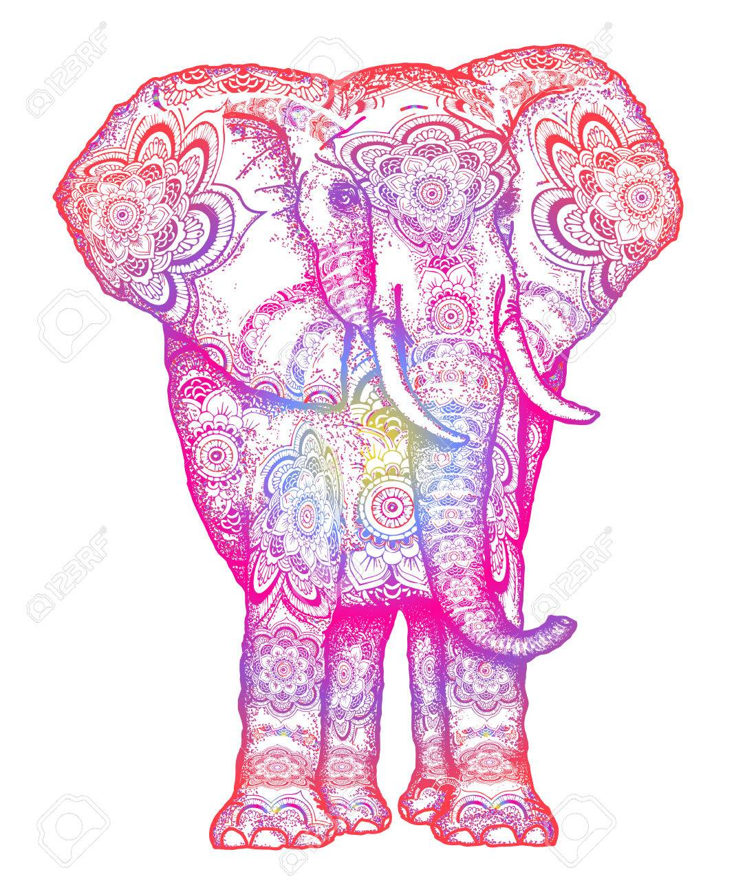 - Elephant Tattoo. Decorative Colorful Elephant Front View With