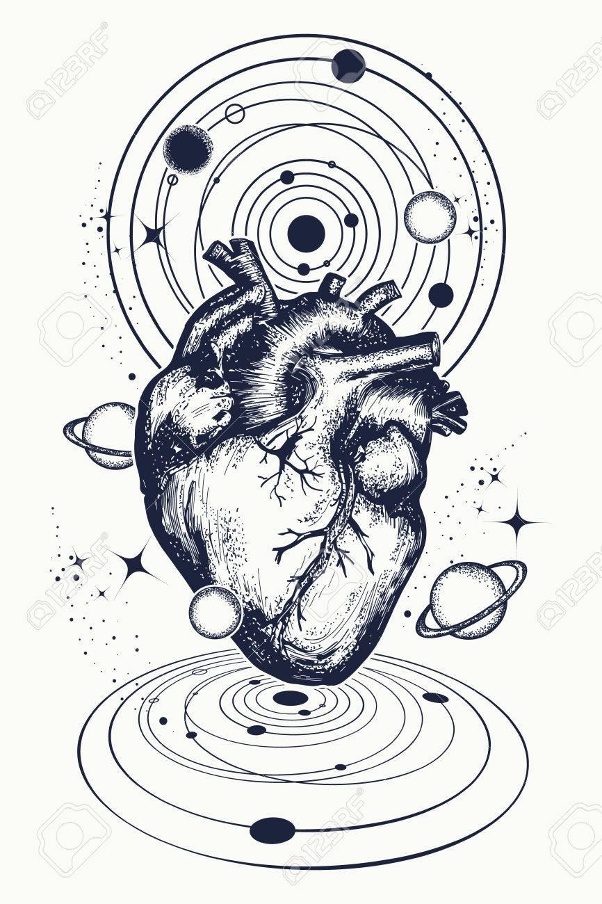 Tatouage Du Coeur Dans L Espace Coeur Anatomique Parmi Les Galaxies