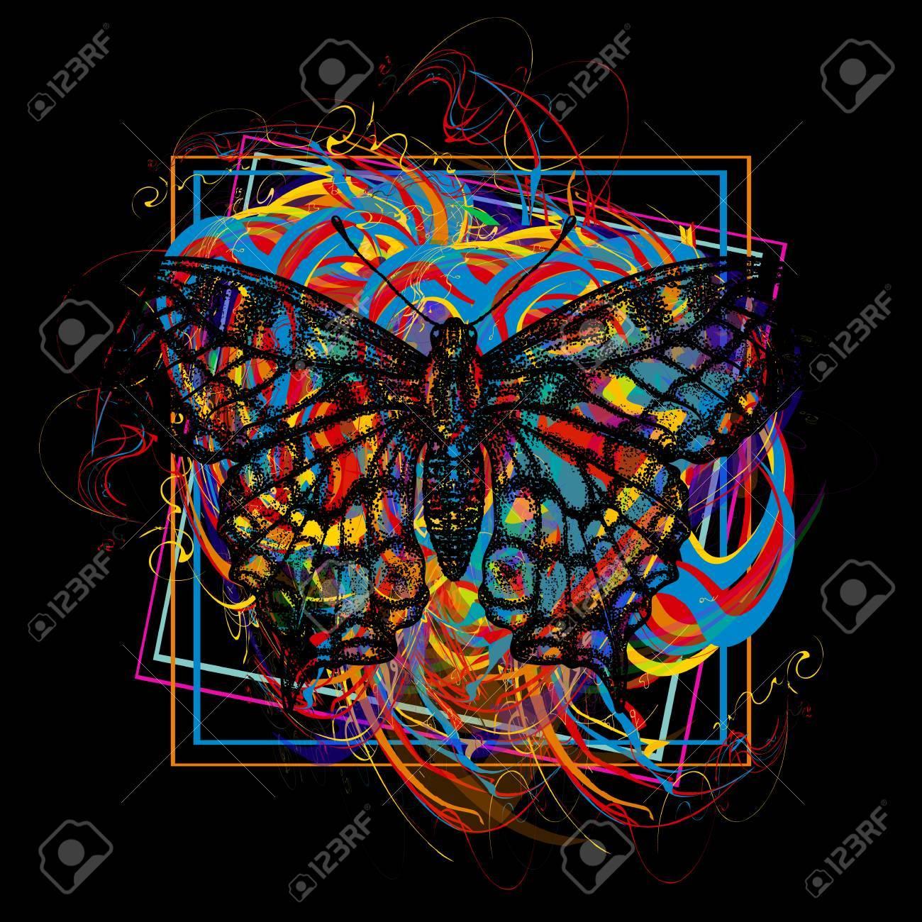 Color butterfly t-shirt design modern art element for design, poster, gift cards, flyers, brochures template. - 80497204