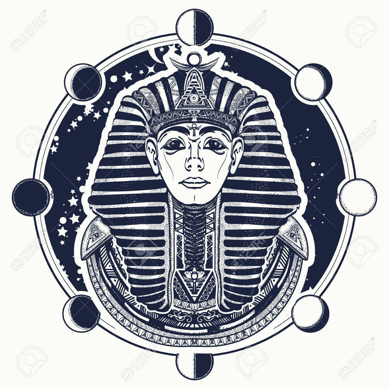 Pharaoh Vector Tattoo Art Egypt Pharaoh Graphic T Shirt Design