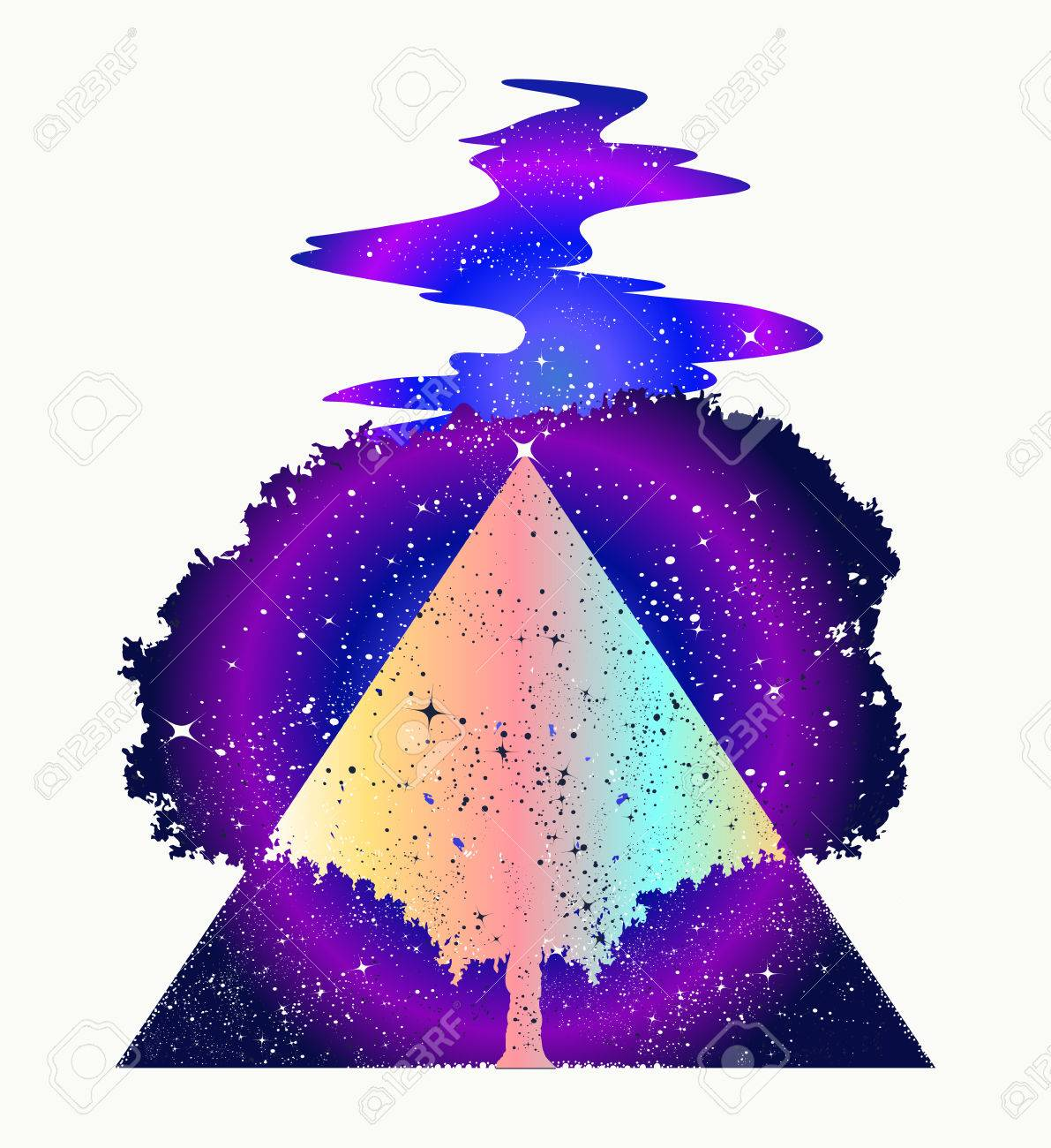 Magic tree of life tattoo art, symbol of life and death. Star river. Mystic sign of immortality of human soul. Magic tree tattoo and t-shirt design. Symbols of psychology, symmetry, philosophy - 80498713
