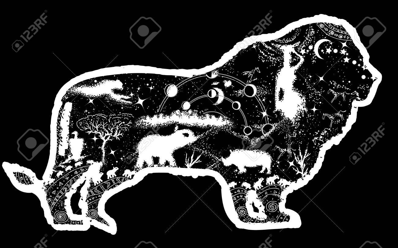 Lion double exposure tattoo art and t shirt design symbol of lion double exposure tattoo art and t shirt design symbol of africa travel biocorpaavc Images