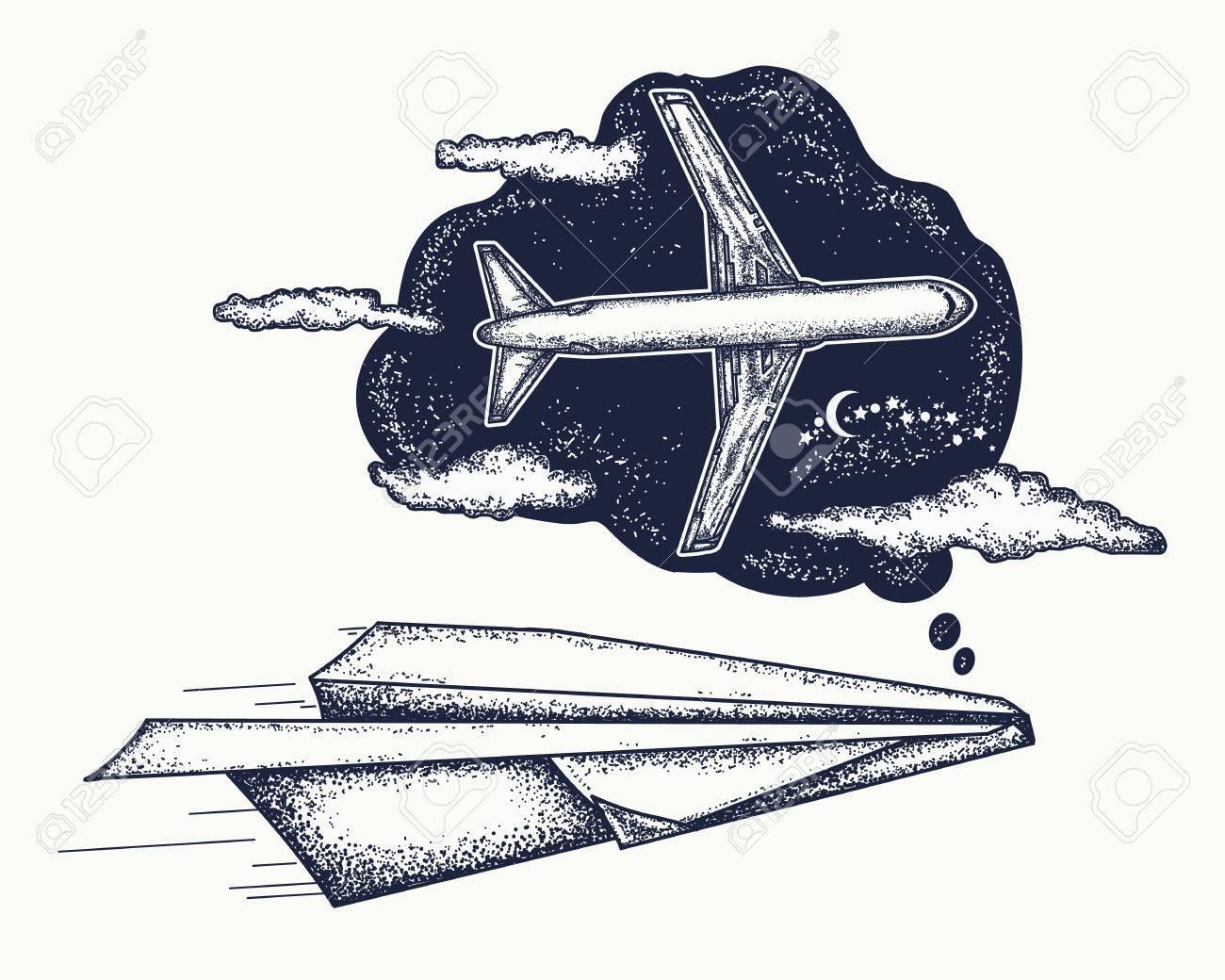 Revez De Tatouage Et De Conception De T Shirt L Avion En Papier Reve De Devenir Le Grand Avion Imagination De Symbole Reve Motivation Tatouage