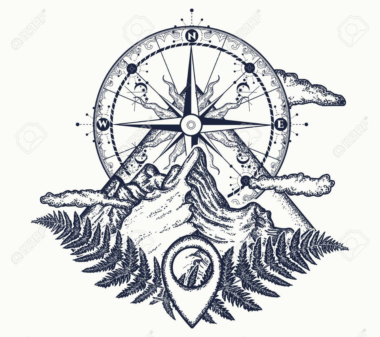 Mountains And Compass Tattoo Symbol Of Tourism Rock Climbing
