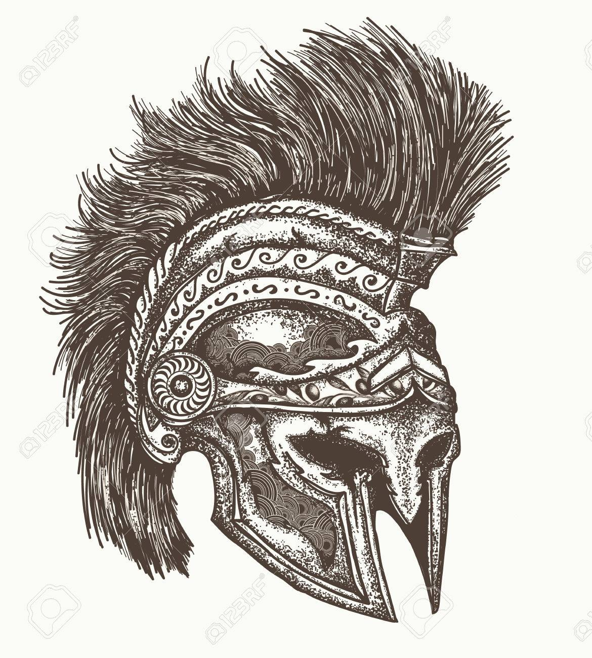 Ancient Spartan Helmet Hand Drawn Ancient Greek War Helmet Royalty