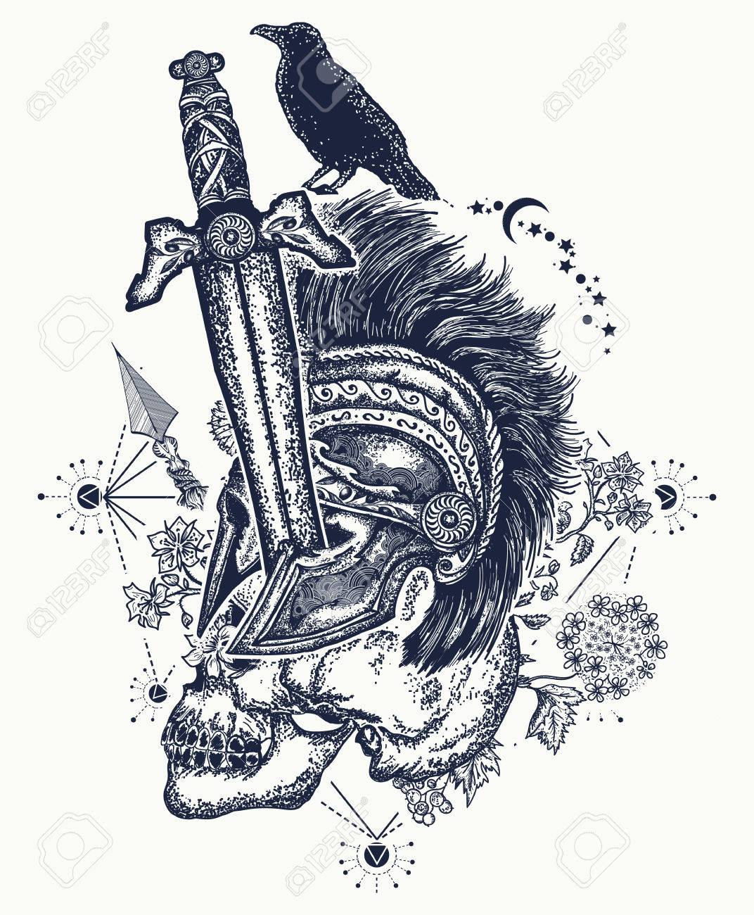 Soldiers skull tattoo. Ancient soldier is killed with sword, medieval sword has pierced spartan's warrior. Gothic tattoo, symbol of life and death, good and evil, light and gloom t-shirt gothic design - 82233361