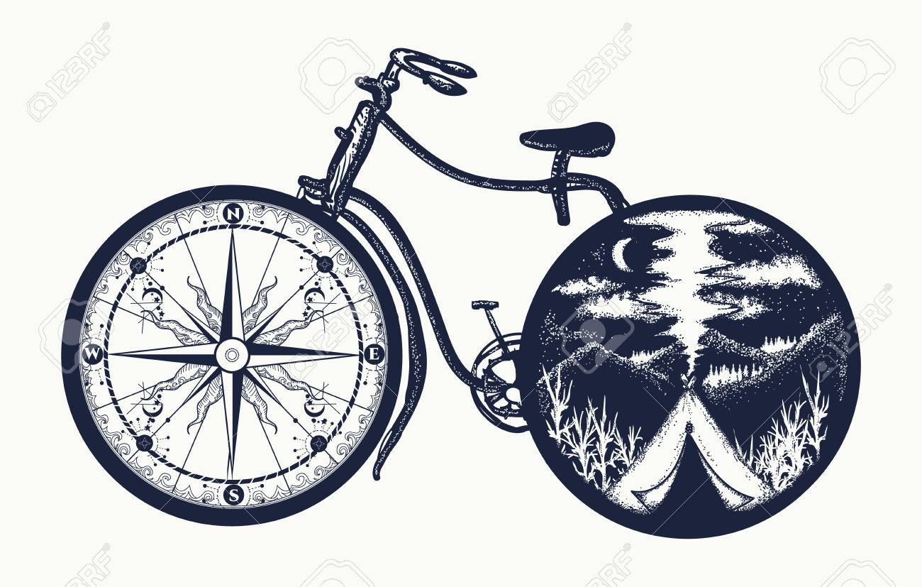 Bicycle Tattoo Art Symbol Of Travel Tourism Adventure Camping