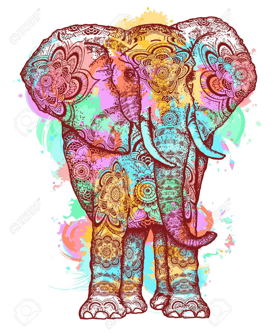 Lement D Art Moderne Design Elephant Couleur T Shirt Pour La