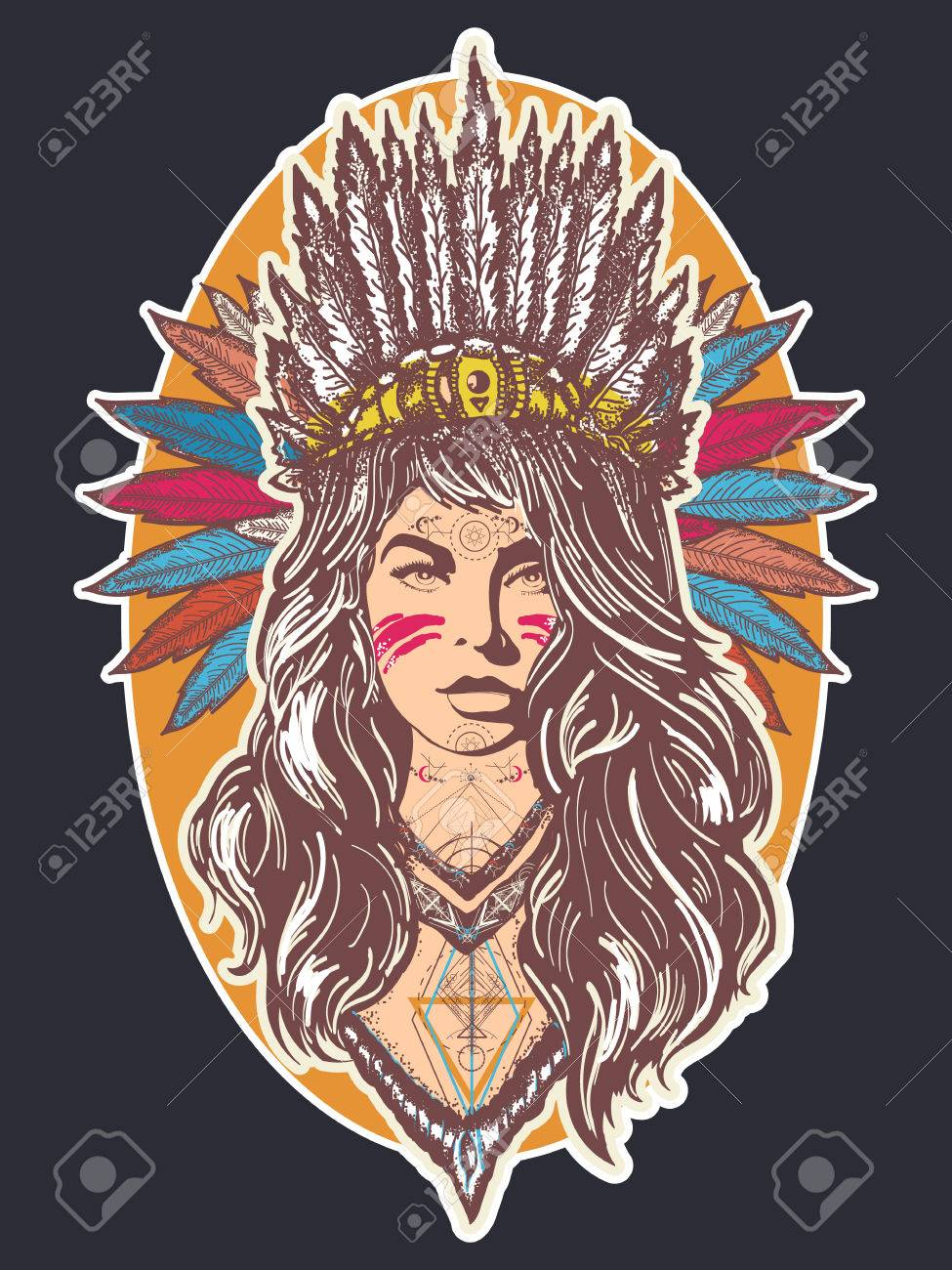Native American Woman Tattoo Art And T Shirt Design Ethnic Girl