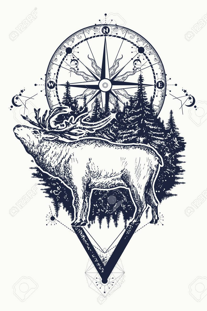 Reindeer And Compass Tattoo Deer And Compass Ethnic Tribal Tattoo