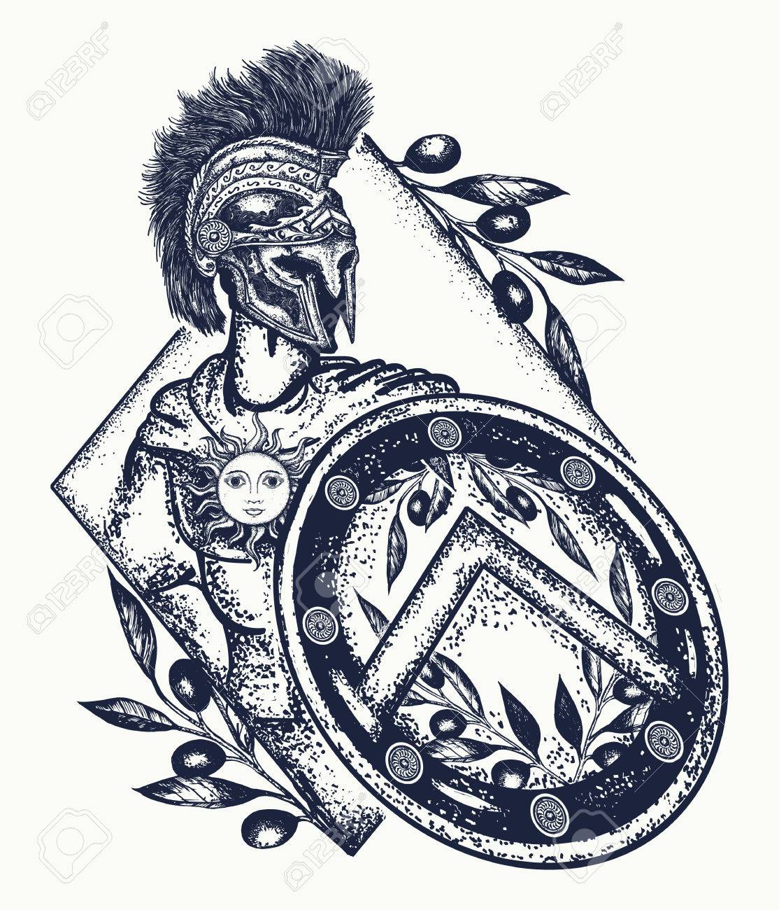 Spartan Warrior Tattoo Art Legionnaire De La Rome Antique Et Du