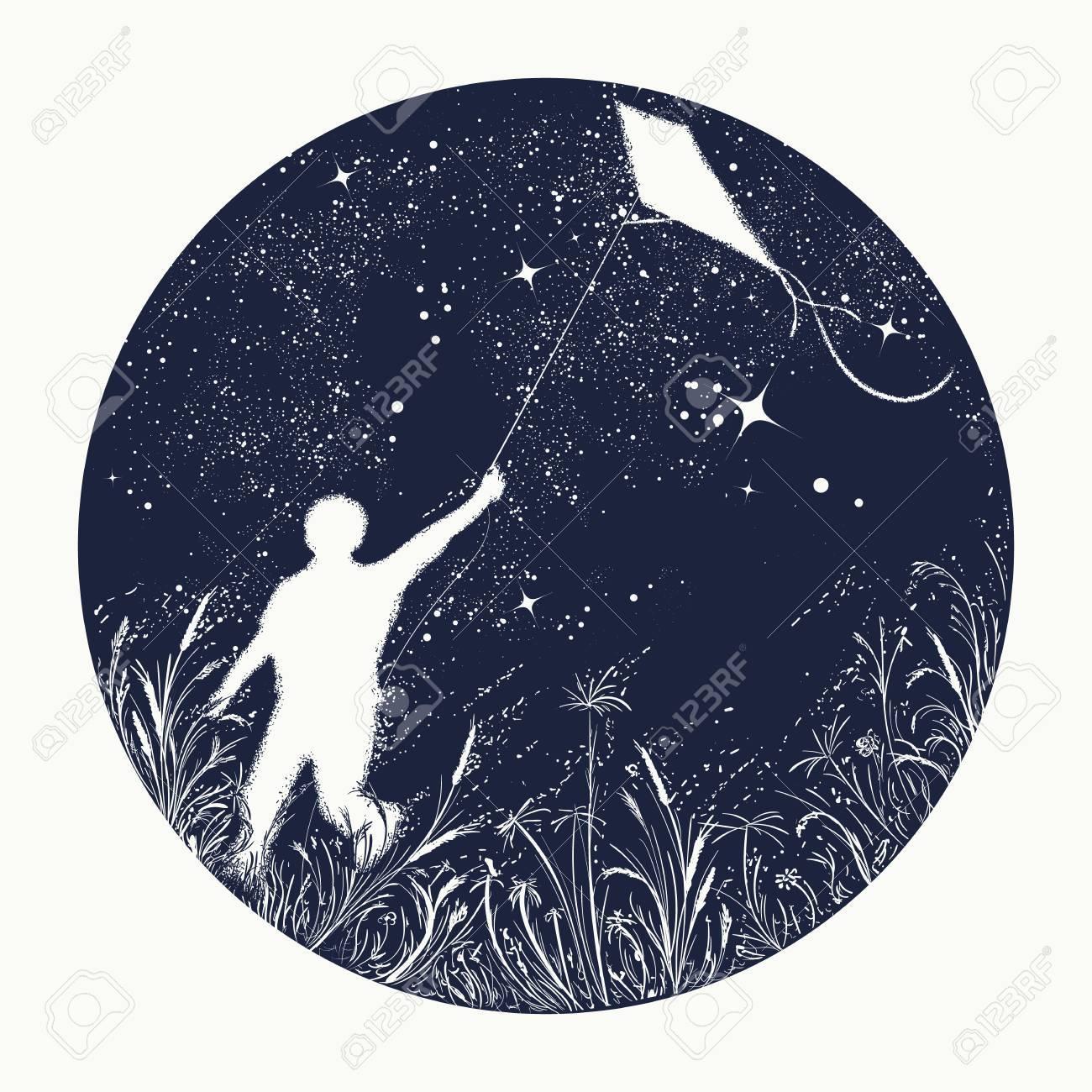 Garcon De Silhouette Faisant Voler Un Cerf Volant En Tatouage De Ciel Nocturne Symbole De Reve Bonheur Motivation Aspiration Liberte Garcon