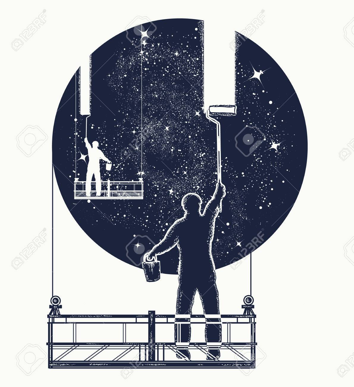 Window cleaners wash universe, surreal tattoo  Symbol of clarification,